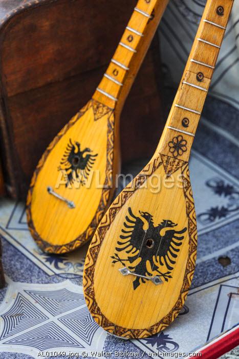 Albania, Kruja, town bazaar, mandolins