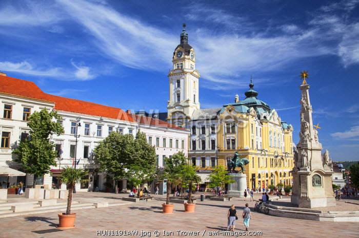 awl-images.com - Hungary / Trinity Column and Town Hall in Szechenyi Square, Pecs, Southern Transdanubia, Hungary