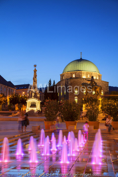 awl-images.com - Hungary / Mosque Church and Trinity Column at dusk, Pecs, Southern Transdanubia, Hungary