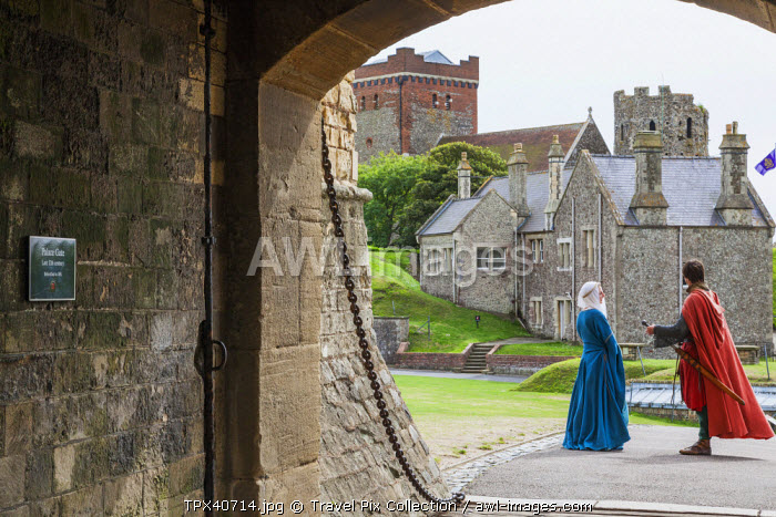 England, Kent, Dover, Dover Castle, Couple Dressed in Medieval Costume
