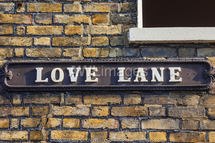 "England, Kent, Margate, Old Town, ""Love Lane"" Street Sign"