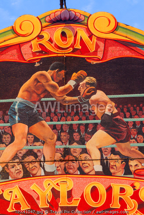 awl-images.com - England / England, Devon, Dingles Fairground Heritage Centre, Fairground Boxing Ring Panel Artwork