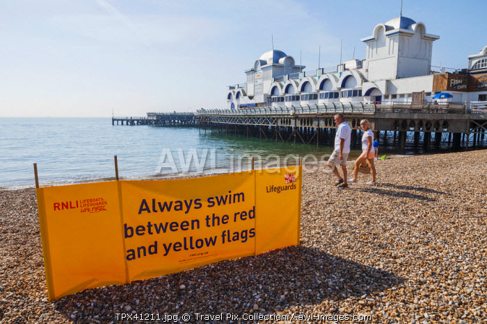 England, Hampshire, Pourtsmouth, Southsea, Southsea Beach, Lifeguard Warning Sign