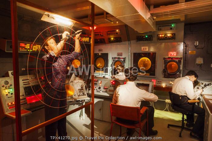 England, Somerset, The Royal Navy Fleet Air Arm Museum, Aircraft Carrier Exhibit of Flight Control Room