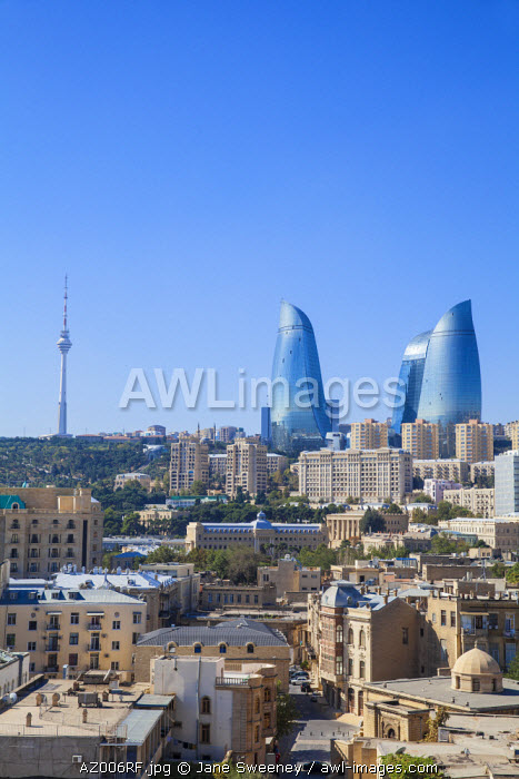 Azerbaijan, Baku, View of Old city, Flame Towers and TV Tower