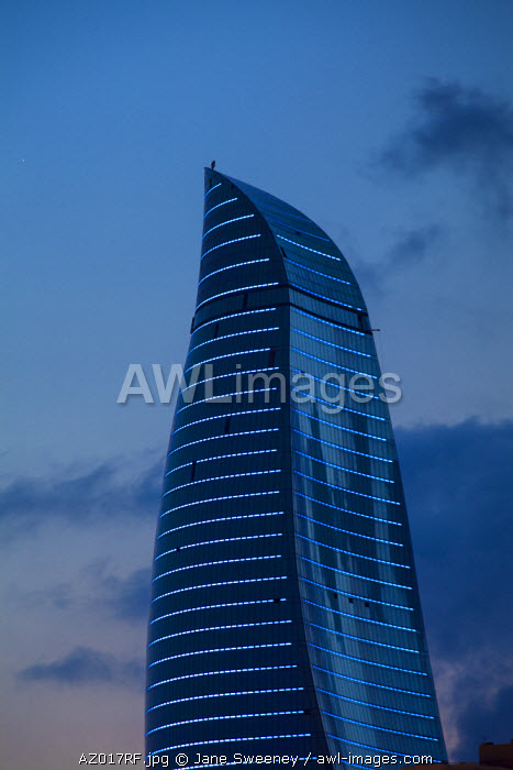 awl-images.com - Azerbaijan / Azerbaijan, Baku, View of one of the three Flame Towers at dusk