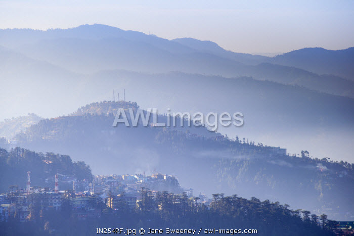 India, Himachal Pradesh, Shimla, View of mountains from The Ridge at dawn