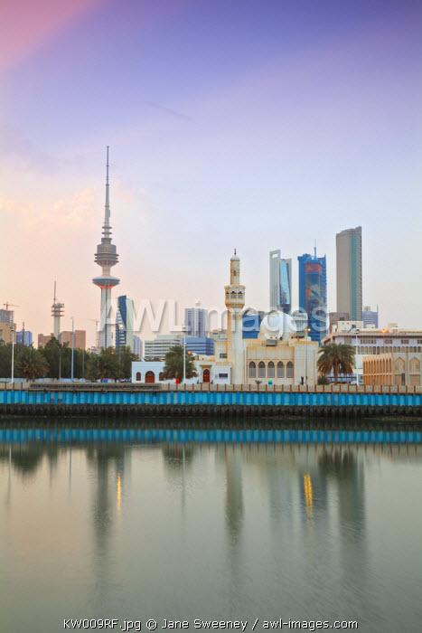 Kuwait, Kuwait City, City skyline reflecting in  harbour