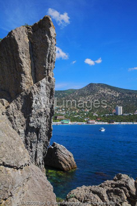 Ukraine, Crimea, Novy Svit Bay and Sokol Mountain known as Falcon Mountain