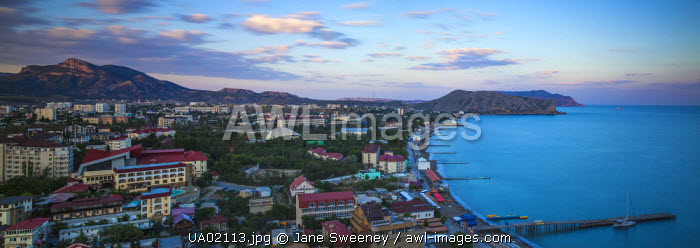 Ukraine, Crimea, Sudak View of city and Black Sea coast