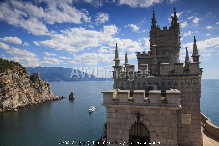 Ukraine, Crimea, Yalta, Gaspra, The Swallow's Nest castle perched on Aurora Clff