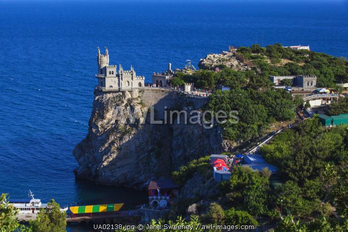 Ukraine, Crimea, Yalta, Gaspra, The Swallow's Nest castle perched on Aurora Clff