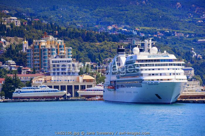 Ukraine, Crimea, Yalta, Yalta embankment, Cruise ship docked at Yalta Cruise ship port