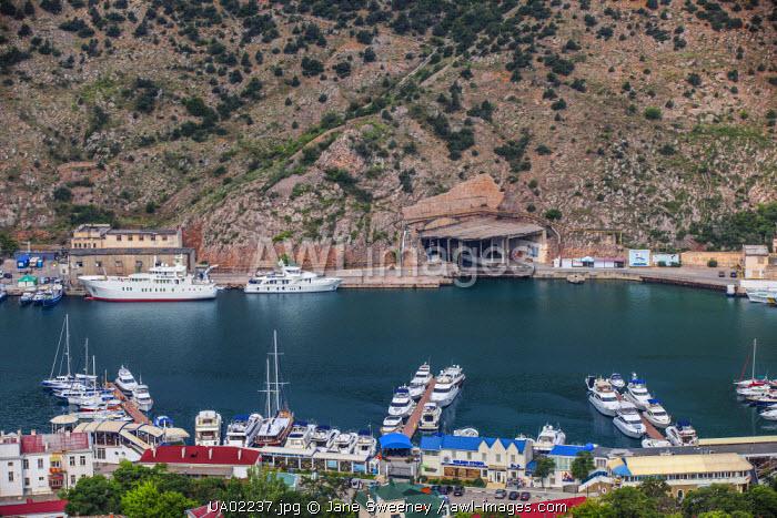 Ukraine, Crimea, Balaklava, Entrance to a former top secret Soviet submarine base built during the Cold War