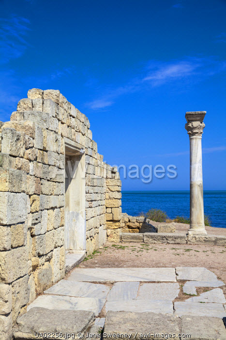 Ukraine, Crimea, Sevastopol, Khersoness, The columns and portico of an early Christian church