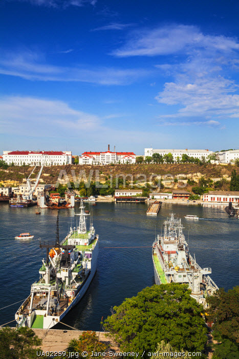 Ukraine, Crimea, Sevastopol, View of Russian and Ukrainian Navy vessels in Sevastopol Bay