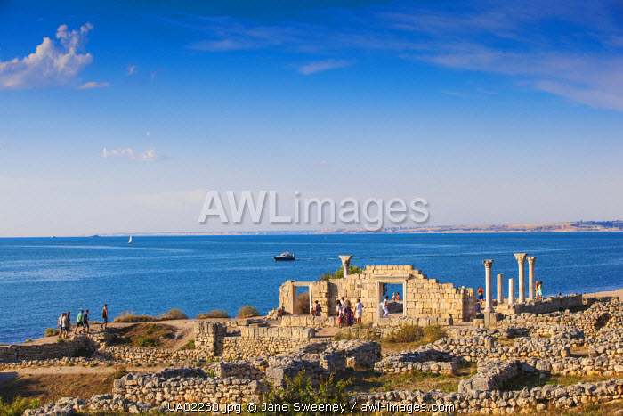 Ukraine, Crimea, Sevastopol, Khersoness, The columns and portico of an early Christian church