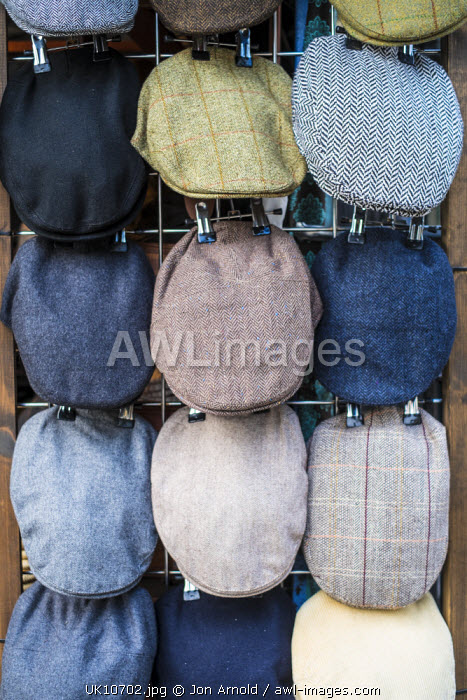 Flat Caps for sale at Camden Lock Market, London, England
