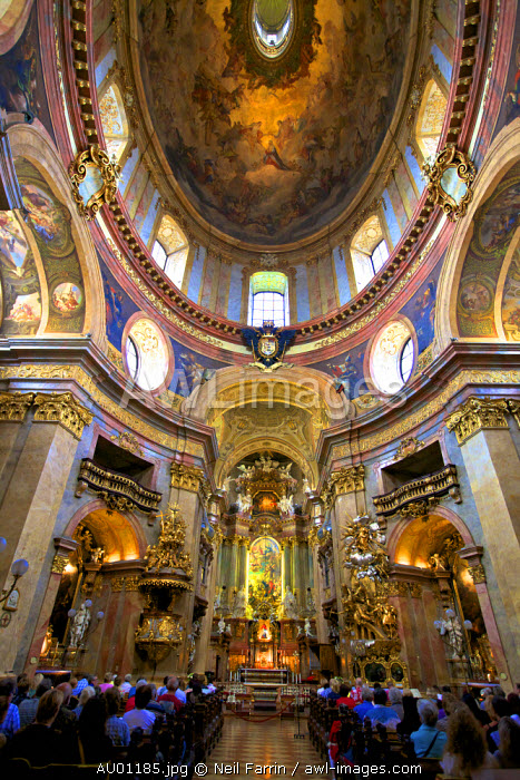 Interior of St. Peter's Church, Vienna, Austria, Central Europe