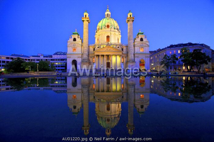 St. Charles Church at Dusk, Vienna, Austria, Central Europe