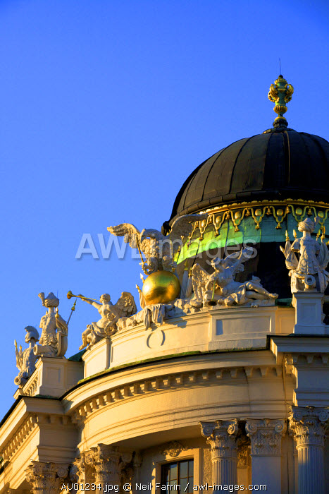 Dome and Sculpture of Triumphant Eagle and Angels on Hofburg Palace at Michaelerplatz, Vienna, Austria, Central Europe