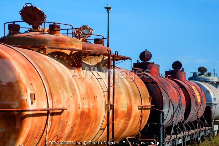 Africa, Angola, Lobito. Train transporting petroleum.