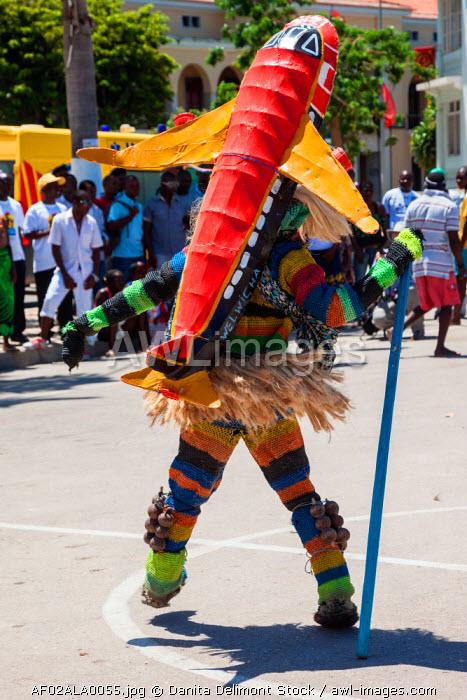 Africa, Angola, Lobito. Man performing traditional Tchingange dance.