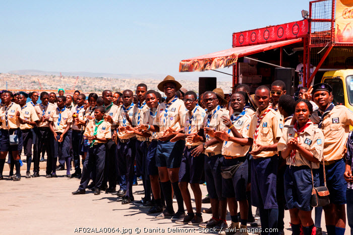 awl-images.com - Angola / Africa, Angola, Lobito. Scouts in uniform gathered in Lobito.