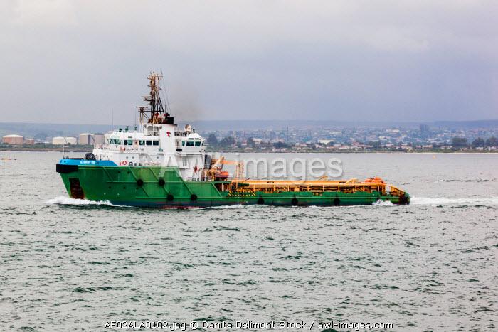 Africa, Angola, Luanda. Oil platform support vessel on water.