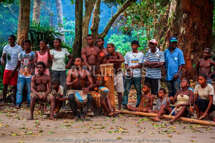 Africa, Cameroon, Kribi. Bagel people drumming during traditional performance.