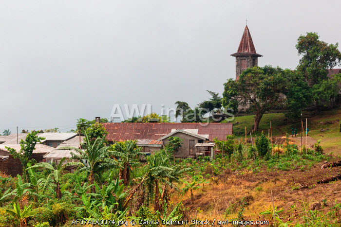 Africa, Cameroon, Buea. View of church on Cameroon Baptist Convention campus.