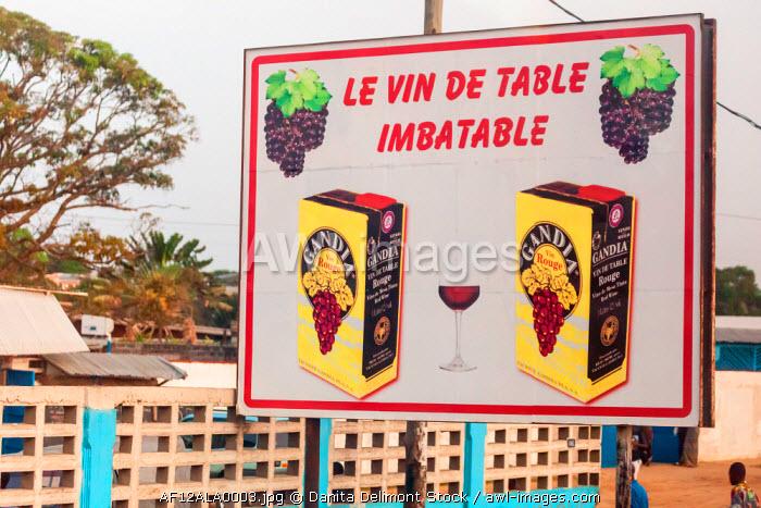 Africa, Congo, Point Noire. Roadside billboard for table wine.