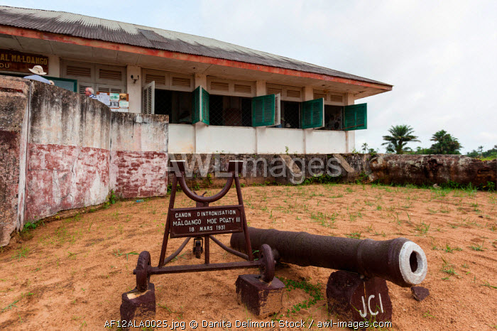 awl-images.com - Congo / Africa, Republic of Congo, Diosso. Canon outside the Ma-Loango Museum.