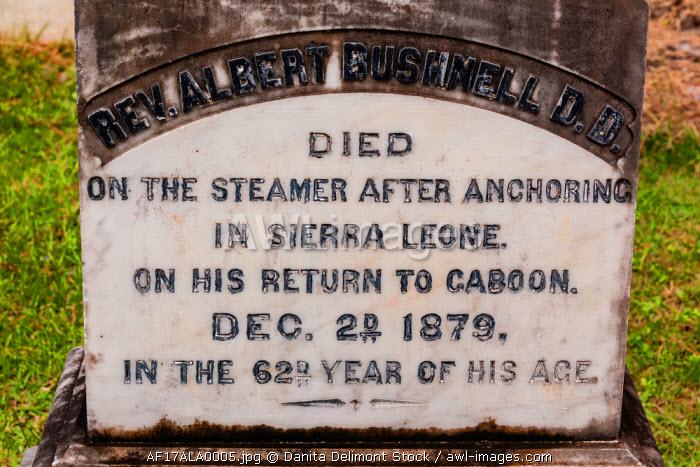 Africa, Gabon, Libreville. Gravestone for Reverend Albert Bushnell, an American who died aboard a steamer ship in Sierra Leone.