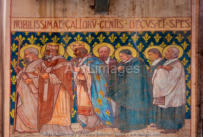 Africa, Gabon, Libreville. Ancient biblical paintings inside the Saint Marie Cathedral.