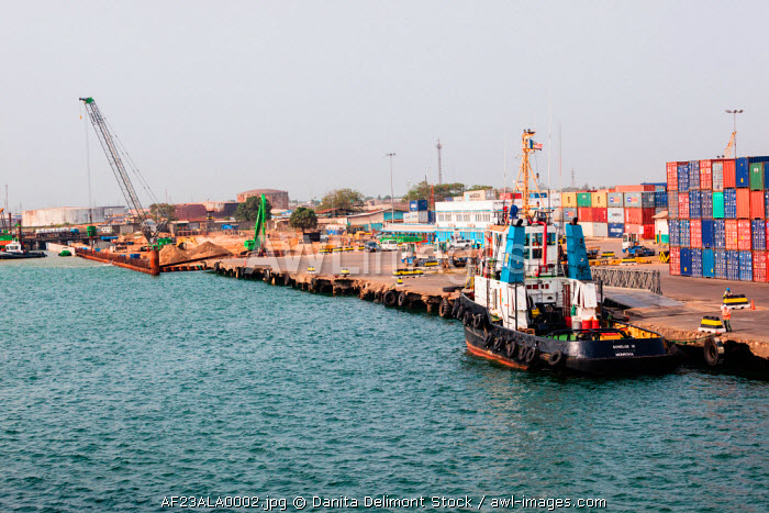 Africa, Liberia, Monrovia. Pilings being constructed at port.