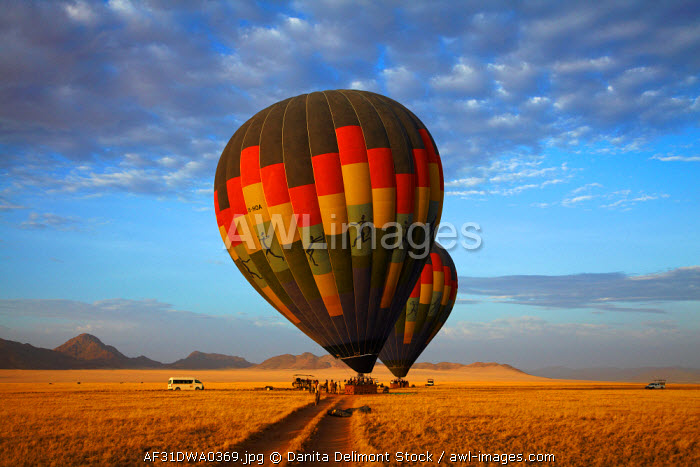 awl-images.com - Namibia / Launching hot air balloons in early light, Namib Desert, near Sesriem, Namibia, Africa.