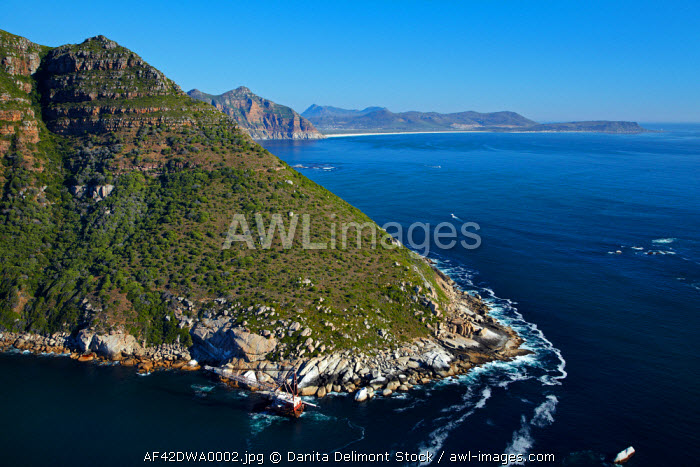 awl-images.com - South Africa / Aerial view of BOS 400 shipwreck (1994), Duiker Point, near Cape Town, South Africa.