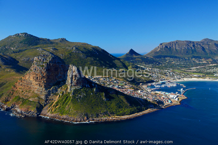 awl-images.com - South Africa / Aerial view of The Sentinel (left) and Hout Bay, Cape Town, South Africa.