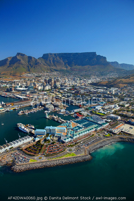 awl-images.com - South Africa / Aerial view of The Table Bay Hotel, V & A Waterfront, CBD, and Table Mountain, Cape Town, South Africa.