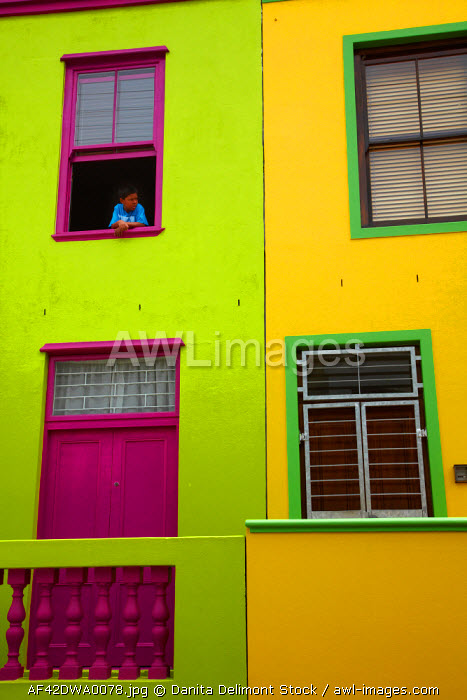 awl-images.com - South Africa / Boy looking out window of colorful house, Bo-Kaap, Cape Town, South Africa.