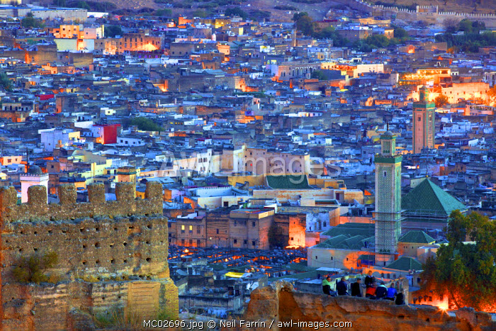 Dusk View of Fez From Merinid Tombs, Fez, Morocco, North Africa