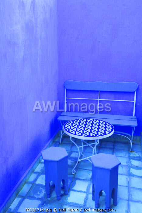 Moroccan Table And Chairs, Chefchaouen, Morocco, North Africa