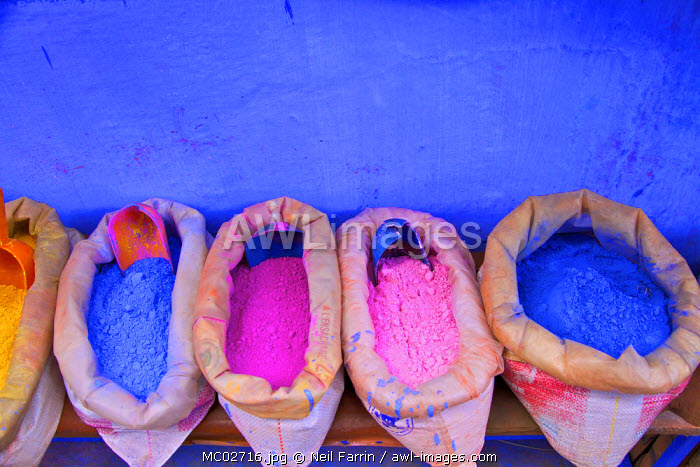 Bags Of Powdered Pigment To Make Paint, Chefchaouen, Morocco, North Africa