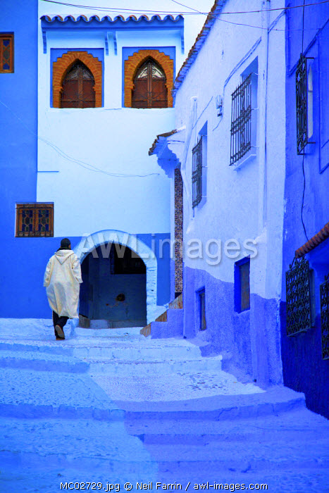 Man In Robe, Chefchaouen, Morocco, North Africa