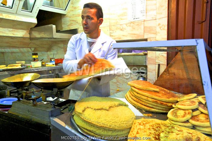 Bread Stall Vendor, Medina, Fez, Morocco, North Africa