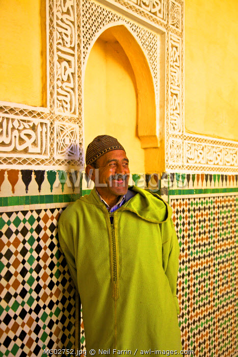 Smiling Man In Traditional Costume, Prayer Hall, Interior Of Mausoleum of Moulay Ismail, Meknes, Morocco, North Africa