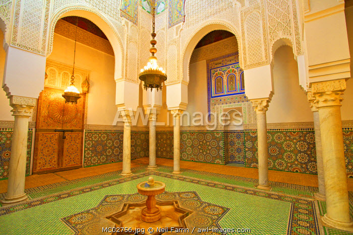 Ablutions Room, Interior Of Mausoleum of Moulay Ismail, Meknes, Morocco, North Africa