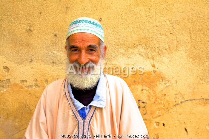 Man In Traditional Costume In Medina, Fez, Morocco, North Africa
