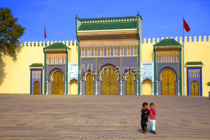 Children In Front Of Royal Palace, Fez, Morocco, North Africa